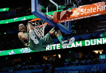 ORLANDO, FL - FEBRUARY 25:  Jeremy Evans of the Utah Jazz reacts after he dunks during the Sprite Slam Dunk Contest part of 2012 NBA All-Star Weekend at Amway Center on February 25, 2012 in Orlando, Florida.  NOTE TO USER: User expressly acknowledges and