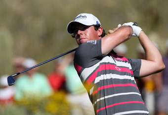 MARANA, AZ - FEBRUARY 26:  Rory McIlroy of Northern Ireland hits his tee shot on the 16th hole during the championship match of the final round of the World Golf Championships-Accenture Match Play Championship at the Ritz-Carlton Golf Club on February 26,