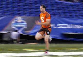 Andrew Luck runs an official 4.67 second 40 yard dash at the 2012 NFL Scouting Combine.