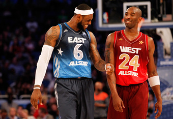 ORLANDO, FL - FEBRUARY 26:  (L-R) LeBron James #6 of the Miami Heat and the Eastern Conference talks with Kobe Bryant #24 of the Los Angeles Lakers and the Western Conference during the 2012 NBA All-Star Game at the Amway Center on February 26, 2012 in Or