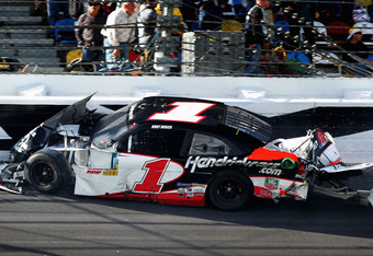 Kurt Busch led a race high 42 laps in Saturday's DRIVE4COPD 300, but ended the day with a wrecked race car amd 10th place finish.