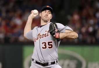 ARLINGTON, TX - OCTOBER 08:  Justin Verlander #35 of the Detroit Tigers throws a pitch against the Texas Rangers in the first inning of Game One of the American League Championship Series at Rangers Ballpark in Arlington on October 8, 2011 in Arlington, T