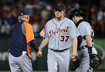 ARLINGTON, TX - OCTOBER 15:  Max Scherzer #37 of the Detroit Tigers is pulled from in the third inning of Game Six of the American League Championship Series at Rangers Ballpark against the Texas Rangers in Arlington on October 15, 2011 in Arlington, Texa