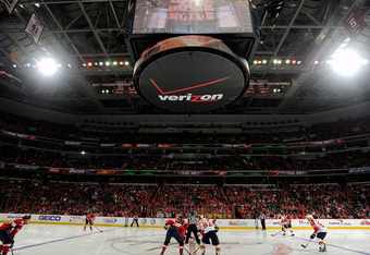 WASHINGTON, DC - FEBRUARY 07:  The Florida Panthers and the Washington Capitals faceoff to start the third period at the Verizon Center on February 7, 2012 in Washington, DC. Washington won the game 4-0. (Photo by Greg Fiume/Getty Images)