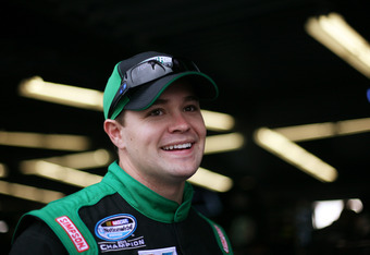 DAYTONA BEACH, FL - FEBRUARY 23:  Ricky Stenhouse Jr., driver of the #6 Kellogg's Pop-Tarts Ford, looks on in the garage during practice for the NASCAR Nationwide Series DRIVE4COPD 300 at Daytona International Speedway on February 23, 2012 in Daytona Beac
