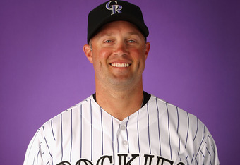 SCOTTSDALE, AZ - FEBRUARY 28:  Michael Cuddyer #3 of the Colorado Rockies poses for a portrait during spring training photo day at Salt River Fields at Talking Stick on February 28, 2012 in Scottsdale, Arizona.  (Photo by Christian Petersen/Getty Images)