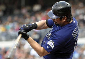 SAN DIEGO, CA - SEPTEMBER 3:  Todd Helton #17 of the Colorado Rockies hits a RBI single during the fourth inning of a baseball game against the San Diego Padres at Petco Park on September 3, 2011 in San Diego, California. (Photo by Denis Poroy/Getty Image