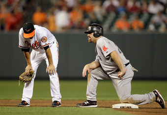 BALTIMORE, MD - JULY 18: Shortstop J.J. Hardy #2 of the Baltimore Orioles (L) and Kevin Youkilis #20 of the Boston Red Sox (R) during a pitching change at Oriole Park at Camden Yards on July 18, 2011 in Baltimore, Maryland. (Photo by Rob Carr/Getty Images