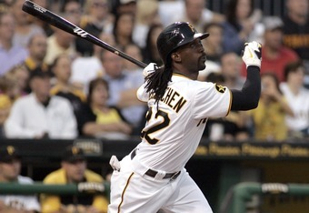 PITTSBURGH, PA - SEPTEMBER 12:  Andrew McCutchen #22 of the Pittsburgh Pirates drives in an RBI on a sacrifice fly against the St. Louis Cardinals during the game on September 12, 2011 at PNC Park in Pittsburgh, Pennsylvania.  (Photo by Justin K. Aller/Ge