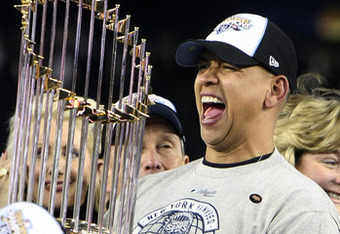 Rodriguez with the 2009 World Series trophy.
