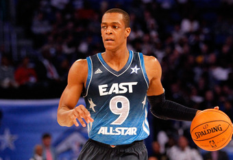 ORLANDO, FL - FEBRUARY 26:  Rajon Rondo #9 of the Boston Celtics and the Eastern Conference brings the ball up court during the 2012 NBA All-Star Game at the Amway Center on February 26, 2012 in Orlando, Florida.  NOTE TO USER: User expressly acknowledges