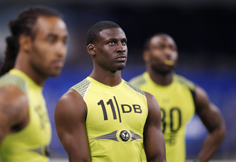 INDIANAPOLIS, IN - FEBRUARY 28: Defensive back Morris Claiborne of LSU waits for his turn to return punts during the 2012 NFL Combine at Lucas Oil Stadium on February 28, 2012 in Indianapolis, Indiana. (Photo by Joe Robbins/Getty Images)
