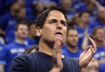 OKLAHOMA CITY, OK - MAY 23:  Owner Mark Cuban of the Dallas Mavericks looks on while the Maverics take on the Oklahoma City Thunder in Game Four of the Western Conference Finals during the 2011 NBA Playoffs at Oklahoma City Arena on May 23, 2011 in Oklaho