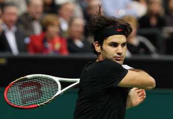 ROTTERDAM, NETHERLANDS - FEBRUARY 19:  Roger Federer of Switzerland in action against Juan Martin Del Potro of Argentina in the Final on day 7 of the ABN AMRO World Tennis Tournament on February 19, 2012 in Rotterdam, Netherlands.  (Photo by Dean Mouhtaro