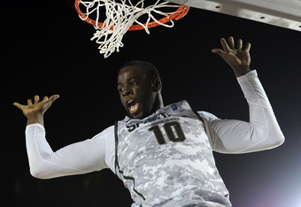 CORONADO, CA - NOVEMBER 11:  Draymond Green #10 of the Michigan State Spartans reacts after her dunk against the North Carolina Tar Heels during the Quicken Loans Carrier Classic on board the USS Carl Vinson on November 11, 2011 in Coronado, California.