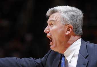 CHAMPAIGN, IL - JANUARY 31: Illinois Fighting Illini head coach Bruce Weber yells to his team during the game against the Michigan State Spartans at Assembly Hall on January 31, 2012 in Champaign, Illinois. Illinois defeated Michigan State 42-41. (Photo b