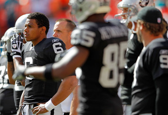 MIAMI GARDENS, FL - DECEMBER 04:  Terrelle Pryor #6 of the Oakland Raiders looks on  during a game against the Miami Dolphins at Sun Life Stadium on December 4, 2011 in Miami Gardens, Florida.  (Photo by Mike Ehrmann/Getty Images)