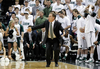 EAST LANSING, MI - MARCH 04:  Michigan State Spartans head coach Tom Izzo reacts to a call during the second half of the game against the Ohio State Buckeyes at Breslin Center on March 4, 2012 in East Lansing, Michigan. Ohio States defeated Michigan State