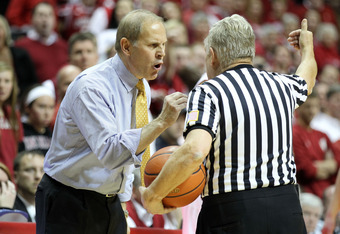 BLOOMINGTON, IN - JANUARY 05:  John Beilein the head coach of the Michigan Wolverines gives his opinion to a game offical during the Big Ten Conference game against the Indiana Hoosiers at Assembly Hall on January 5, 2012 in Bloomington, Indiana.  (Photo