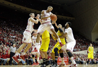BLOOMINGTON, IN - JANUARY 05:  Verdell Jones III #12 of the Indiana Hoosiers grabs a rebound during the Big Ten Conference game against the Michigan Wolverines at Assembly Hall on January 5, 2012 in Bloomington, Indiana.  (Photo by Andy Lyons/Getty Images