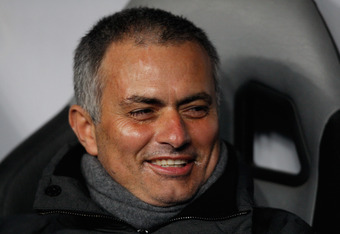 MOSCOW, RUSSIA - FEBRUARY 21: Real Madrid coach Jose Mourinho laughs prior to the UEFA Champions League round of 16, first leg match between CSKA Moscow and Real Madrid at the Luzhniki Stadium on February 21, 2012 in Moscow, Russia.  (Photo by Harry Engel