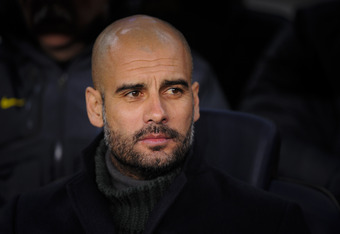 BARCELONA, SPAIN - FEBRUARY 04:  Head coach Josep Guardiola of FC Barcelona looks on prior to the La Liga match between FC Barcelona and Real Sociedad de Futbol at Camp Nou on February 4, 2012 in Barcelona, Spain.  (Photo by David Ramos/Getty Images)