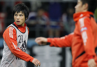 TOYOTA, JAPAN - FEBRUARY 29:  (EDITORIAL USE ONLY) Ryo Miyaichi of Japan practices prior to the 2014 FIFA World Cup Brazil Asian 3rd Qualifier match between Japan and Uzbekistan at Toyota Stadium on February 29, 2012 in Toyota, Japan.  (Photo by Kiyoshi O