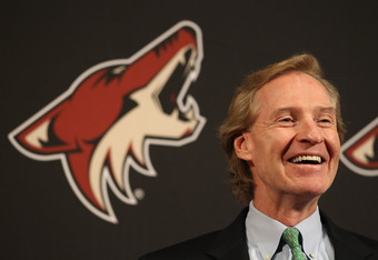 GLENDALE, AZ - NOVEMBER 23:  General manager Don Maloney of the Phoenix Coyotes speaks during a press conference to announce the contract signing of Kyle Turris (not pictured) before the NHL game against the Anaheim Ducks at Jobing.com Arena on November 2