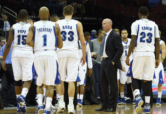 NEWARK, NJ - DECEMBER 02:  Head coach Kevin Willard of the Seton Hall Pirates talks with his players during a timeout against the Auburn Tigers at Prudential Center on December 2, 2011 in Newark, New Jersey.  (Photo by Chris Chambers/Getty Images)
