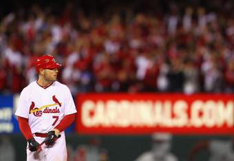 ST LOUIS, MO - OCTOBER 14:  Matt Holliday #7 of the St. Louis Cardinals looks on after he hit a RBI double in the eighth inning against the Milwaukee Brewers during Game Five of the National League Championship Series at Busch Stadium on October 14, 2011
