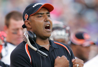 BALTIMORE - NOVEMBER 06:  Head coach Marvin Lewis of the Cincinnati Bengals reacts after a touchdown during the second half of the game against the Baltimore Ravens on November 6, 2005 at M&T Bank Stadium in Baltimore, Maryland.  (Photo by Jamie Squire/Ge