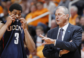 KNOXVILLE, TN - JANUARY 21: Connecticut Huskies head coach Jim Calhoun talks to Jeremy Lamb #3 during the game against the Tennessee Volunteers at Thompson-Boling Arena on January 21, 2012 in Knoxville, Tennessee. Tennessee defeated Connecticut 60-57. (Ph