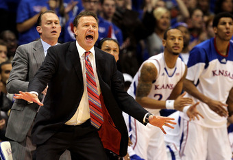 LAWRENCE, KS - FEBRUARY 25:  Head coach Bill Self of the Kansas Jayhawks reacts from the bench during the game against the Missouri Tigers on February 25, 2012 at Allen Fieldhouse in Lawrence, Kansas.  (Photo by Jamie Squire/Getty Images)