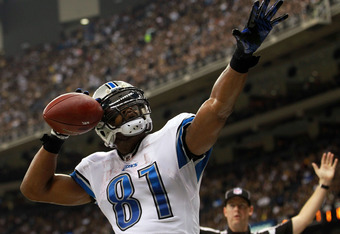 NEW ORLEANS, LA - JANUARY 07:  Calvin Johnson #81 of the Detroit Lions celebrates after scoring a touchdown in the second quarter against the New Orleans Saints during their 2012 NFC Wild Card Playoff game at Mercedes-Benz Superdome on January 7, 2012 in