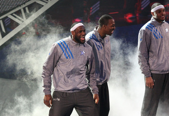 ORLANDO, FL - FEBRUARY 26:  (L-R) Eastern Conference All-Star starters Derrick Rose #1 of the Chicago Bulls, LeBron James #6 of the Miami Heat, Dwight Howard #12 of the Orlando Magic, Carmelo Anthony #15 of the New York Knicks and Dwyane Wade #3 of the Mi