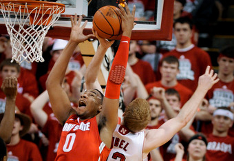 LINCOLN, NE - JANUARY 21: Jared Sullinger #0 of the Ohio State Buckeyes fights with Brandon Ubel #13 of the Nebraska Cornhuskers during their game at The Devany Center January 21, 2012 in Lincoln, Nebraska. Ohio State defeated Nebraska 78-45. (Photo by Er