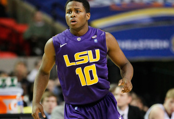 ATLANTA, GA - MARCH 10:  Andre Stringer #10 of the LSU Tigers reacts during their game against the Vanderbilt Commodores during the first round of the SEC Men's Basketball Tournament at the Georgia Dome on March 10, 2011 in Atlanta, Georgia.  (Photo by Ke