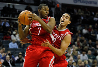 CHARLOTTE, NC - JANUARY 10:  Teammates Kyle Lowry #7 and Kevin Martin #12 of the Houston Rockets against the Charlotte Bobcats during their game at Time Warner Cable Arena on January 10, 2012 in Charlotte, North Carolina.   NOTE TO USER: User expressly ac
