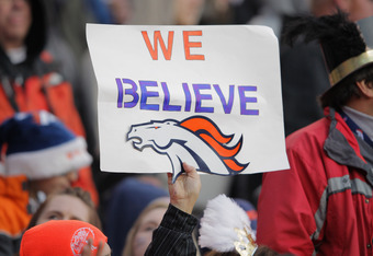 DENVER, CO - JANUARY 01:  A fan holds up a sign in support of the Denver Broncos against the Kansas City Chiefs at Sports Authority Field at Mile High on January 1, 2012 in Denver, Colorado. The Chiefs defeated the Broncos 7-3 as the Broncos advanced to t
