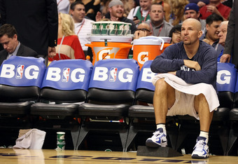 PHOENIX, AZ - MARCH 08:  Jason Kidd #2 of the Dallas Mavericks reacts on the bench during the NBA game against the Phoenix Suns at US Airways Center on March 8, 2012 in Phoenix, Arizona. The Suns defeated the Mavericks 96-94. NOTE TO USER: User expressly