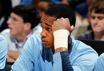 ATLANTA, GA - MARCH 11:  Injured John Henson #31 of the North Carolina Tar Heels looks on from the bench against the Florida State Seminoles during the Final Game of the 2012 ACC Men's Basketball Conference Tournament at Philips Arena on March 11, 2012 in