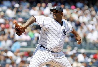 NEW YORK, NY - JULY 10:  CC Sabathia #52 of the New York Yankees pitches against the Tampa Bay Rays at Yankee Stadium on July 10, 2011 in the Bronx borough of New York City.  (Photo by Nick Laham/Getty Images)