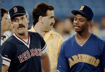 TORONTO - JULY 9:  (L-R) Wade Boggs #26 of the Boston Red Sox and Ken Griffey Jr. #24 of the Seattle Mariners look on during the1991 All-Star Game at the Toronto Sky Dome on July 9, 1991 in Toronto, Ontario, Canada. (Photo by Rick Stewart/Getty Images)