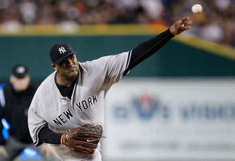 DETROIT, MI - OCTOBER 03:  CC Sabathia #52 of the New York Yankees throws a pitch against the Detroit Tigers in the first inning of Game Three of the American League Division Series at Comerica Park on October 3, 2011 in Detroit, Michigan.  (Photo by Greg