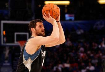 ORLANDO, FL - FEBRUARY 25:  Kevin Love of the Minnesota Timberwolves competes during the Foot Locker Three-Point Contest part of 2012 NBA All-Star Weekend at Amway Center on February 25, 2012 in Orlando, Florida.  NOTE TO USER: User expressly acknowledges