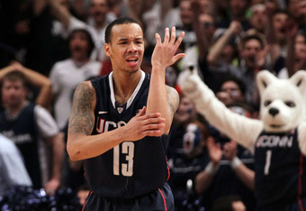 NEW YORK, NY - MARCH 08:  Shabazz Napier #13 of the Connecticut Huskies reacts after a non call against the Syracuse Orange during the quarterfinals of the Big East Men's Basketball Tournament at Madison Square Garden on March 8, 2012 in New York City.  (