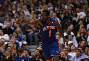 DALLAS, TX - MARCH 06:  Amare Stoudemire #1 of the New York Knicks reacts during play against the Dallas Mavericks at American Airlines Center on March 6, 2012 in Dallas, Texas.  NOTE TO USER: User expressly acknowledges and agrees that, by downloading an