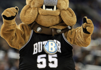 HOUSTON, TX - APRIL 04:  The Butler Bulldogs mascot performs on the court as they are taking on the Connecticut Huskies during the National Championship Game of the 2011 NCAA Division I Men's Basketball Tournament at Reliant Stadium on April 4, 2011 in Ho