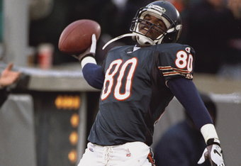 5 Nov 1995:  Wide receiver Curtis Conway #80 of the Chicago Bears spikes the ball in the endzone after scoring a touchdown in the second quarter of the Bears game against the Pittsburgh Steelers at Soldier Field in Chicago, Illinois. The Bears reportedly