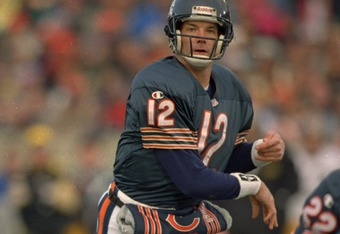 5 Nov 1995:  Quarterback Erik Kramer of the Chicago Bears focuses on his target as he looks down field following an attempted pass during the Bears 37-34 overtime loss to the Pittsburgh Steelers at Soldier Field in Chicago, Illinois.   Mandatory Credit: J
